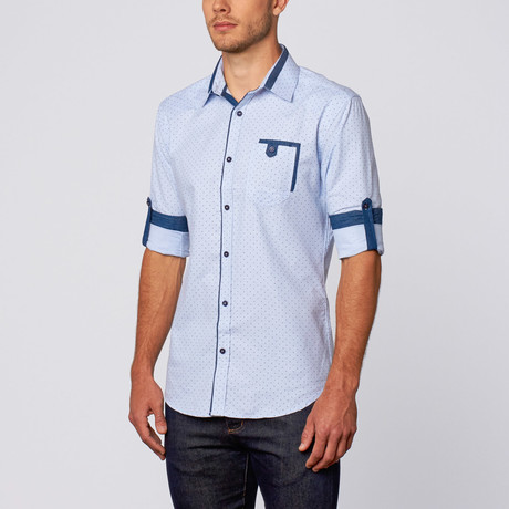 Polka Dot Print Button-Up Shirt // Blue