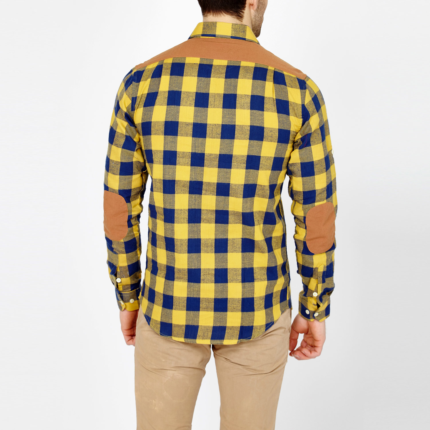 oski button up yellow blue plaid s blanc touch. Black Bedroom Furniture Sets. Home Design Ideas