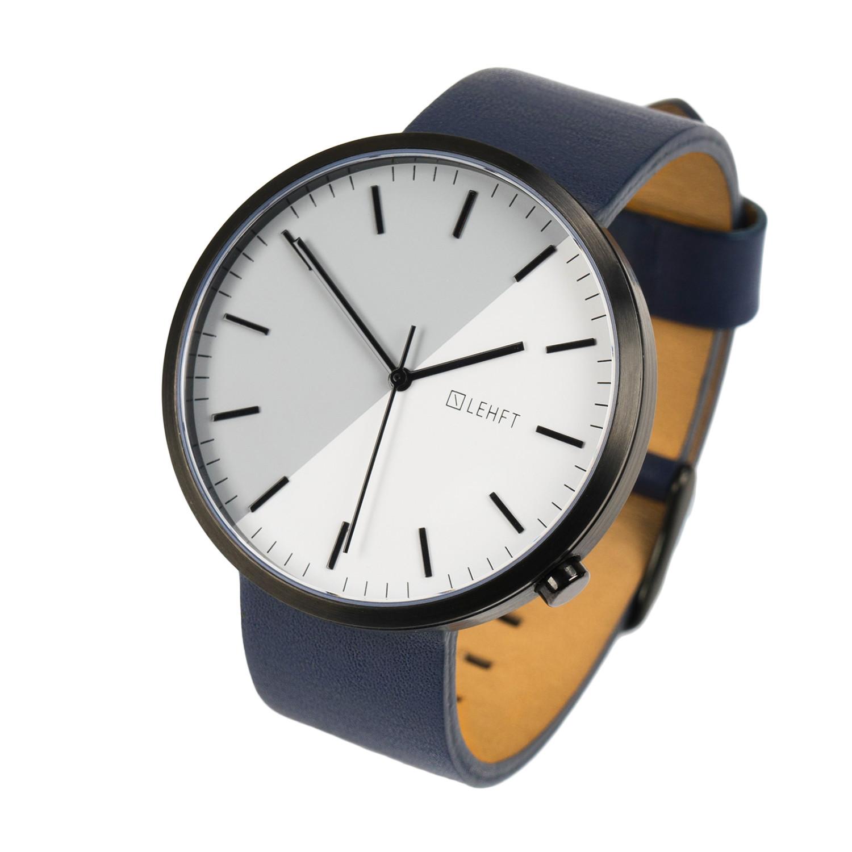 Lehft Watch Quartz // Black + Midnight Blue Leather Strap ...