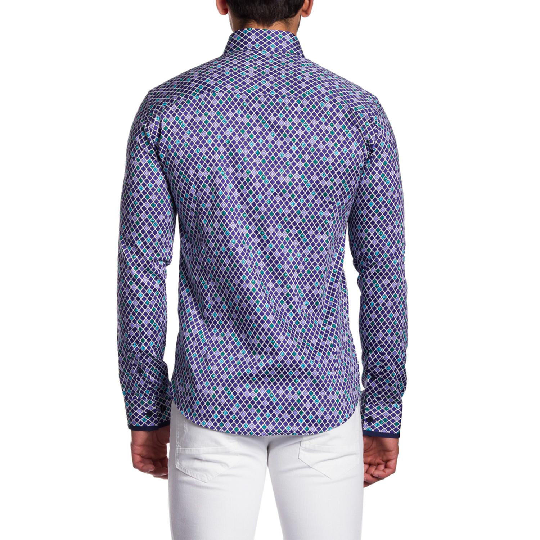 Button down shirt purple blue tiles s mcr moda for Purple and blue shirt