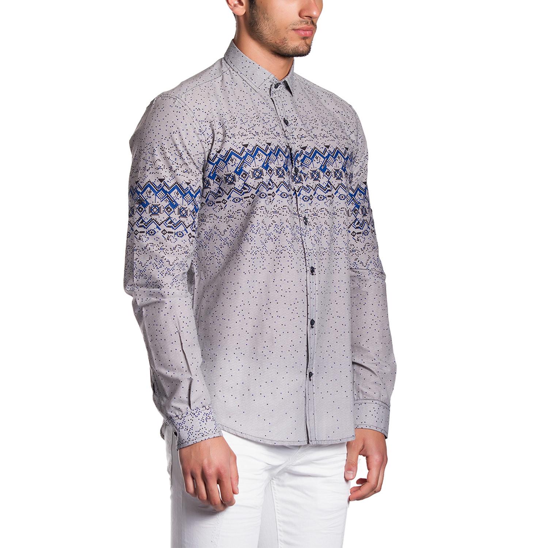 Button Down Shirt Grey Blue Horizontal Pattern S