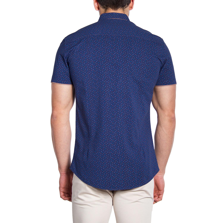 Button Down Shirt Dark Blue Pattern Tan Contrast S