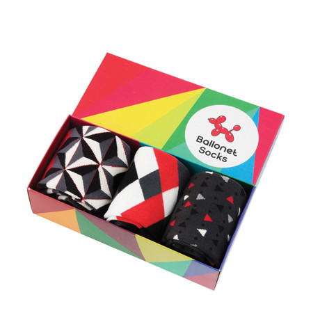 Chips Diamond Prism Gift Box // Pack of 3 // Grey (Size: 6-9)