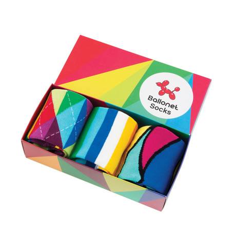 Mid-Calf Sock // Bright Lines // Pack of 3 (Size: 8-12)