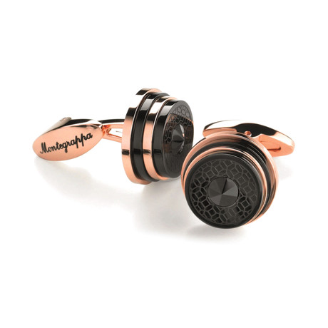Montegrappa Stairway Cufflinks // Rose Gold + Black
