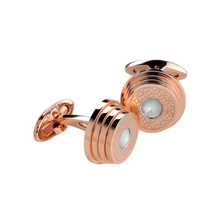 Montegrappa Stairway Cufflinks // Rose Gold + White Crystal