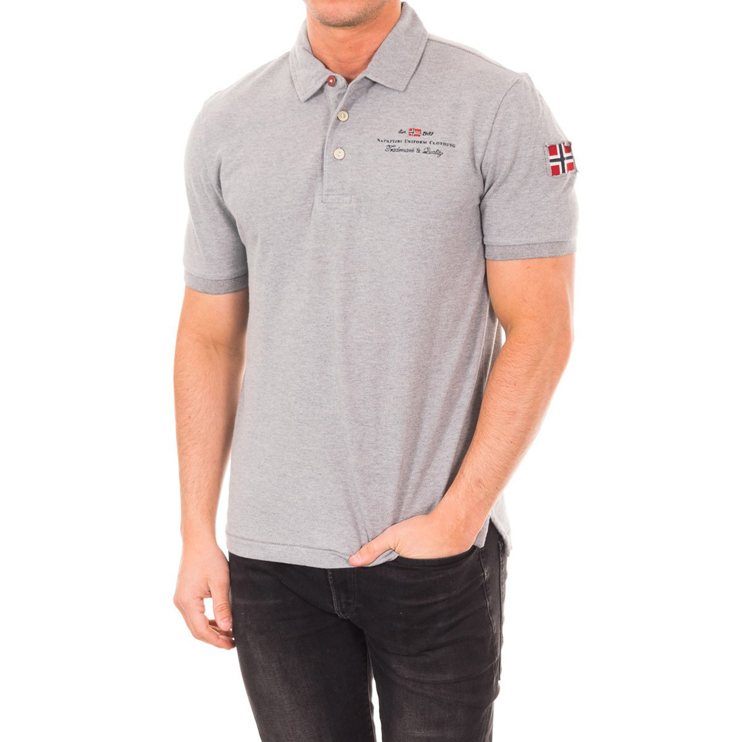 Short sleeve patch embroidery polo light grey s
