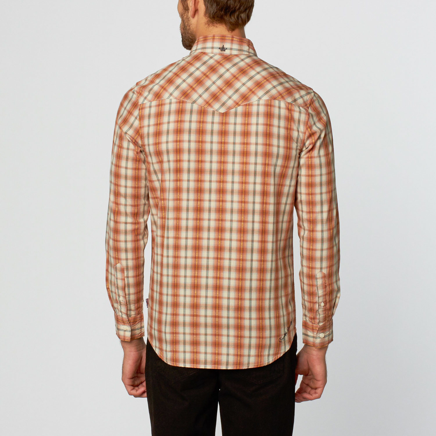 Norwell Plaid Long Sleeve Shirt Orange S English