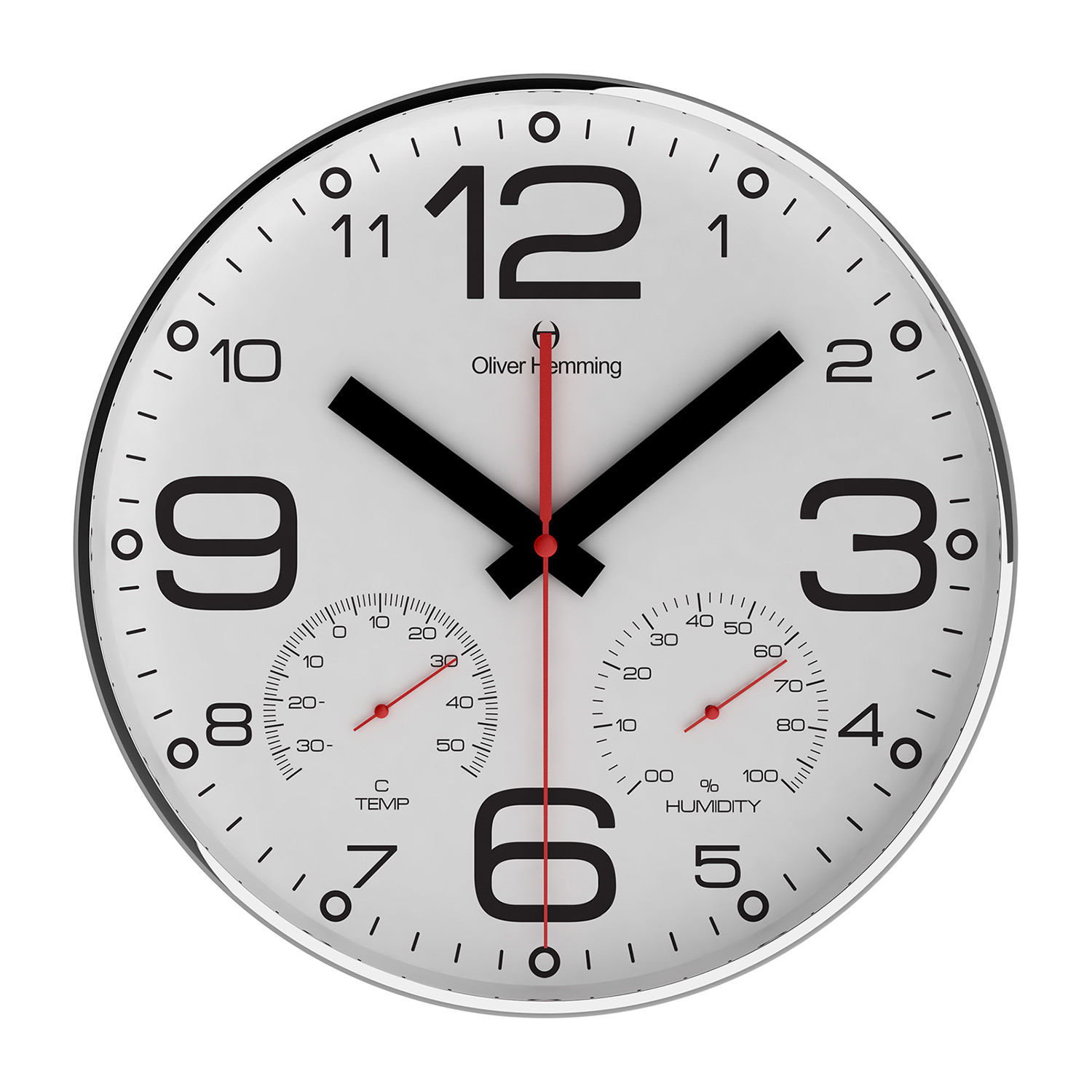 Chrome wall clock weather station w300s51w oliver hemming chrome wall clock weather station w300s51w amipublicfo Image collections
