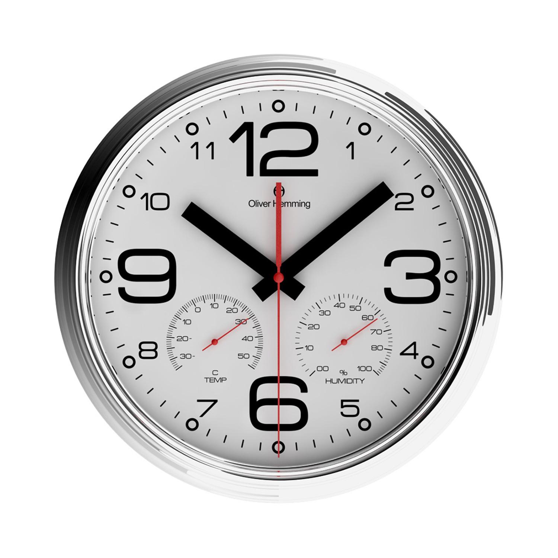 Chrome Wall Clock Weather Station W360s51w