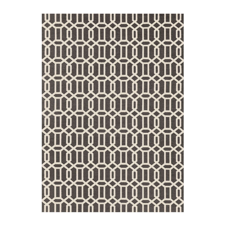 Washable Rug Nonslip Pad Grey Modern Fretwork