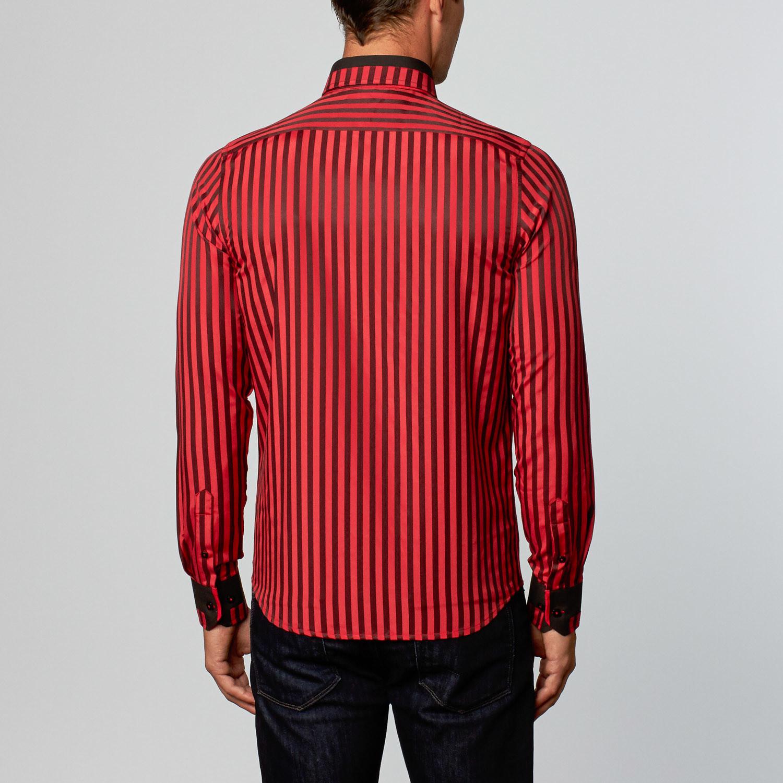 dress shirt black red stripe l fashion clearance