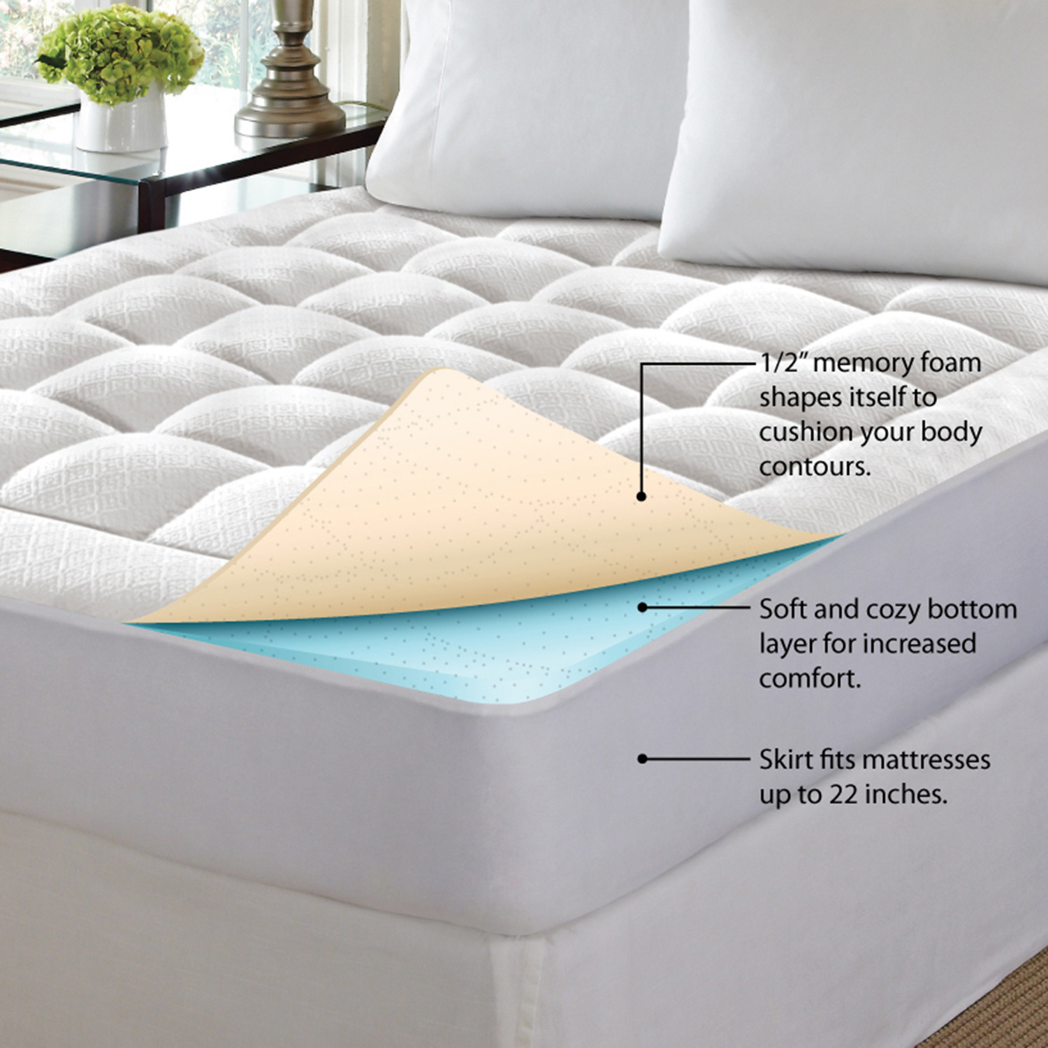 Pure Rest Washable Memory Foam Mattress Pad Full Pure Rest By Rio Home Fashions Touch Of