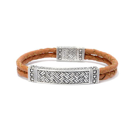 Leather Woven Bracelet // 7mm // Brown + Silver