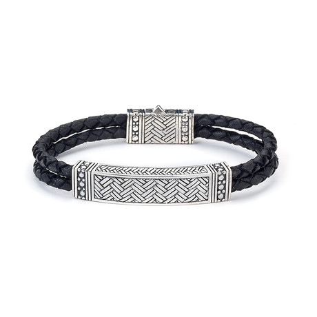 Leather Woven Bracelet // Black