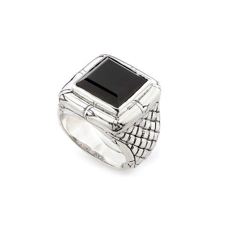 Sterling Silver Black Onyx + Woven Shank Design Ring (9)