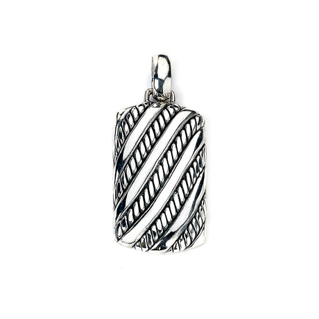 Wrapped Rope Dogtag Pendant // Silver