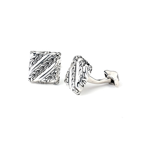 Braided Square Cuff Links // Silver