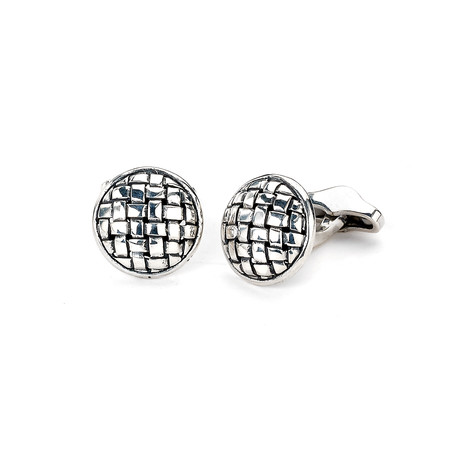 Circle Woven Cuff Links // Silver