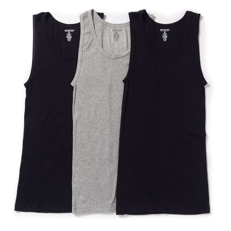 Basic Outfitters // Ribbed Tank Top // Black + Grey // Pack of 3 (XL)