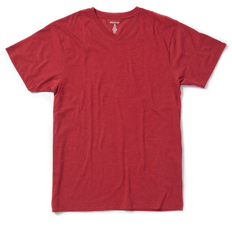 Basic Outfitters // Heather V-Neck Tee // Red (S)