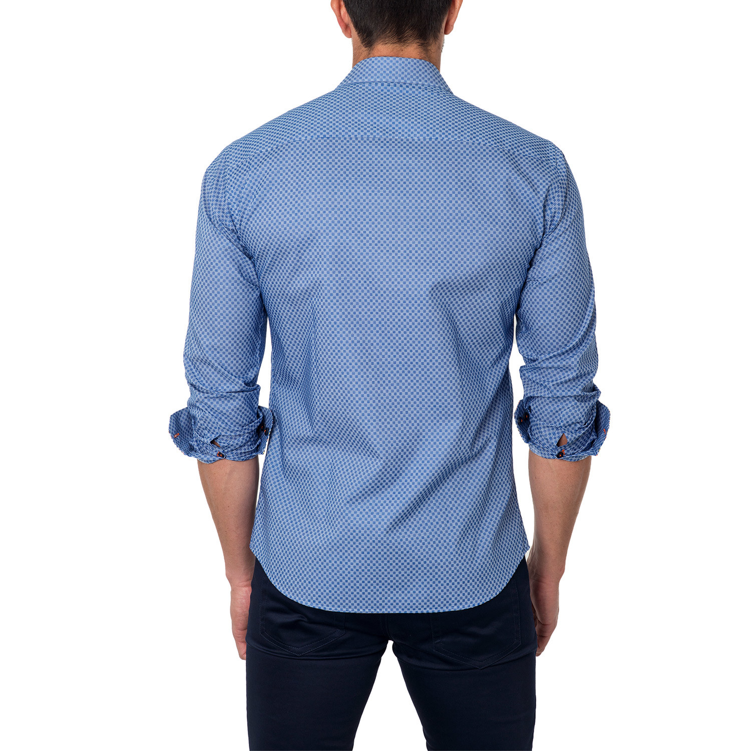 Overdyed lines button up shirt royal blue s for Royals button up shirt