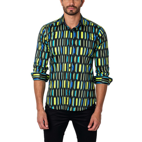Abstract Library Button-Up Shirt // Black + Yellow