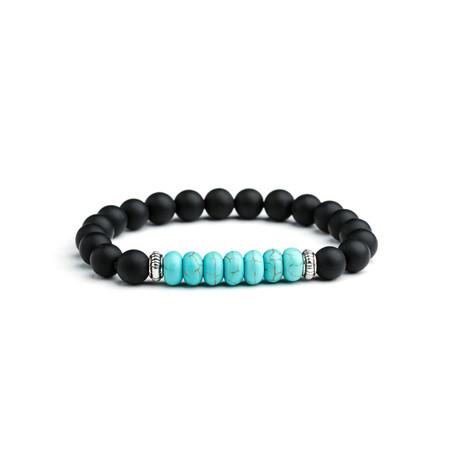 Silver + Onyx + Turquoise Beaded Bracelet // Black + Aqua