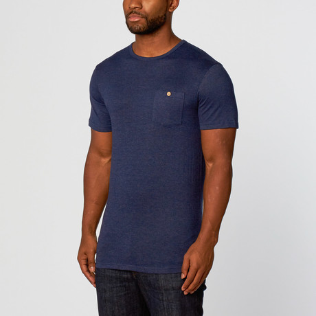 Ty Long Curved Tee // Navy