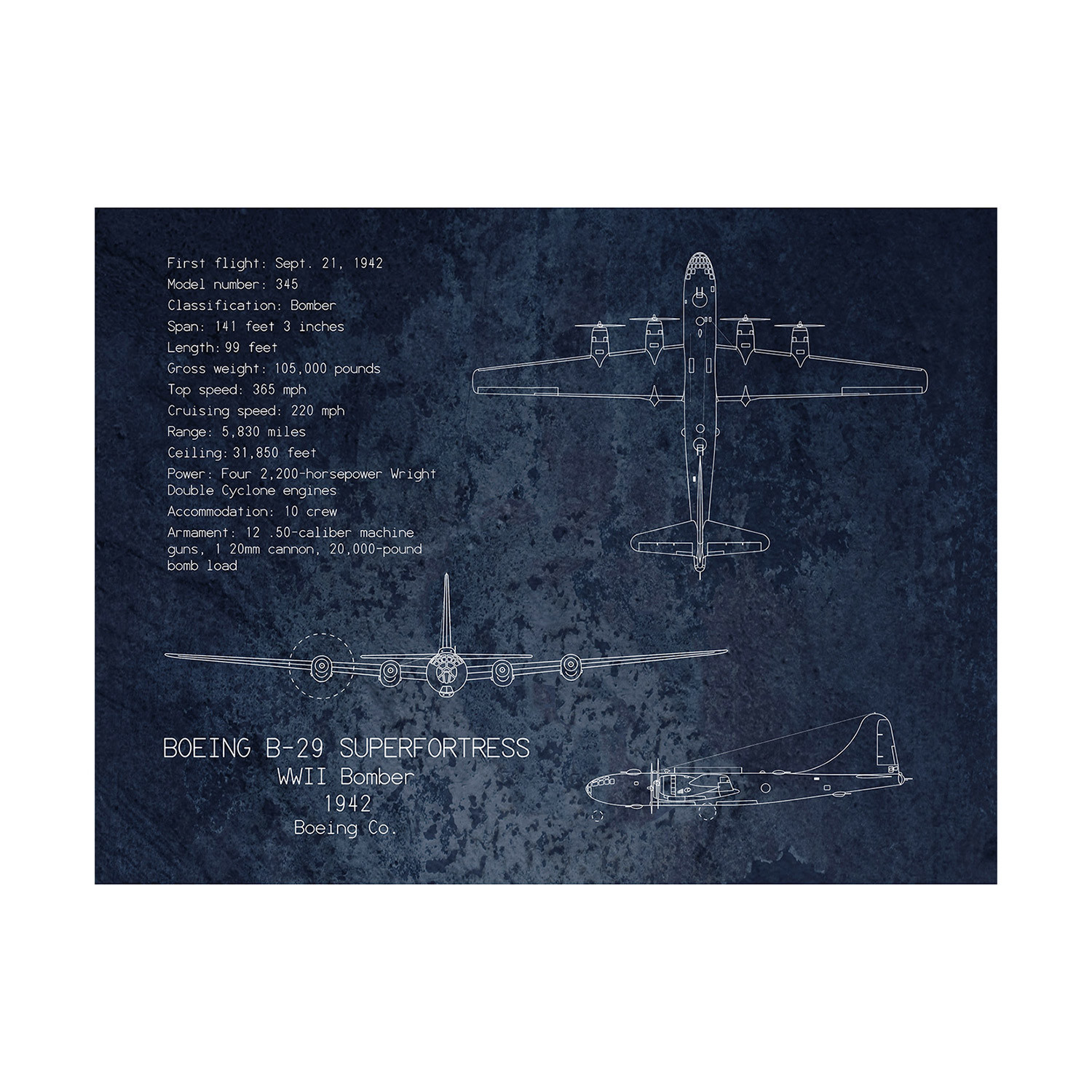 B 29 superfortress blueprint scarlet blvd touch of modern b 29 superfortress blueprint malvernweather Image collections
