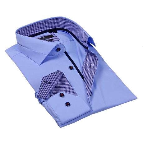 Solid Button-Up Dress Shirt // Light Blue