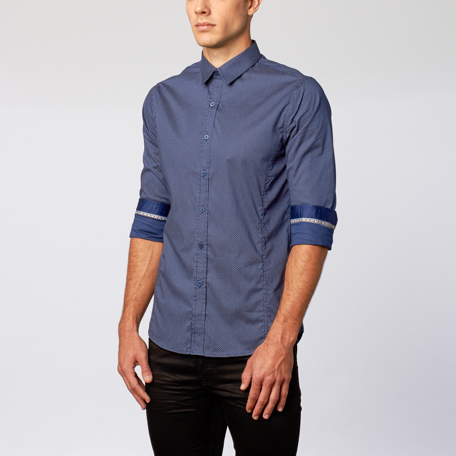 Button Up Shirt Micro Dash Navy S Platini Touch
