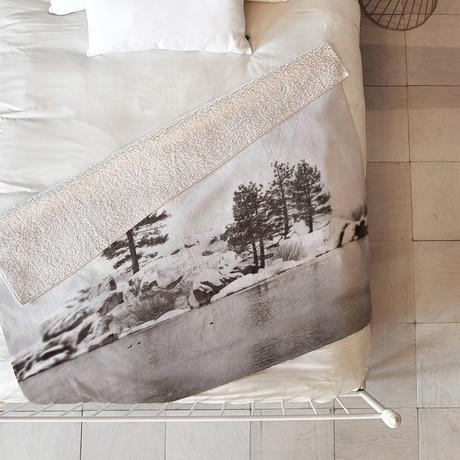 Snowy Lake // Fleece Throw Blanket