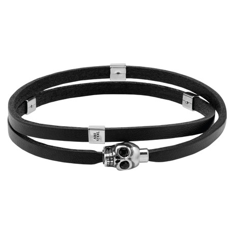 Black Leather Skull Wrap Bracelet