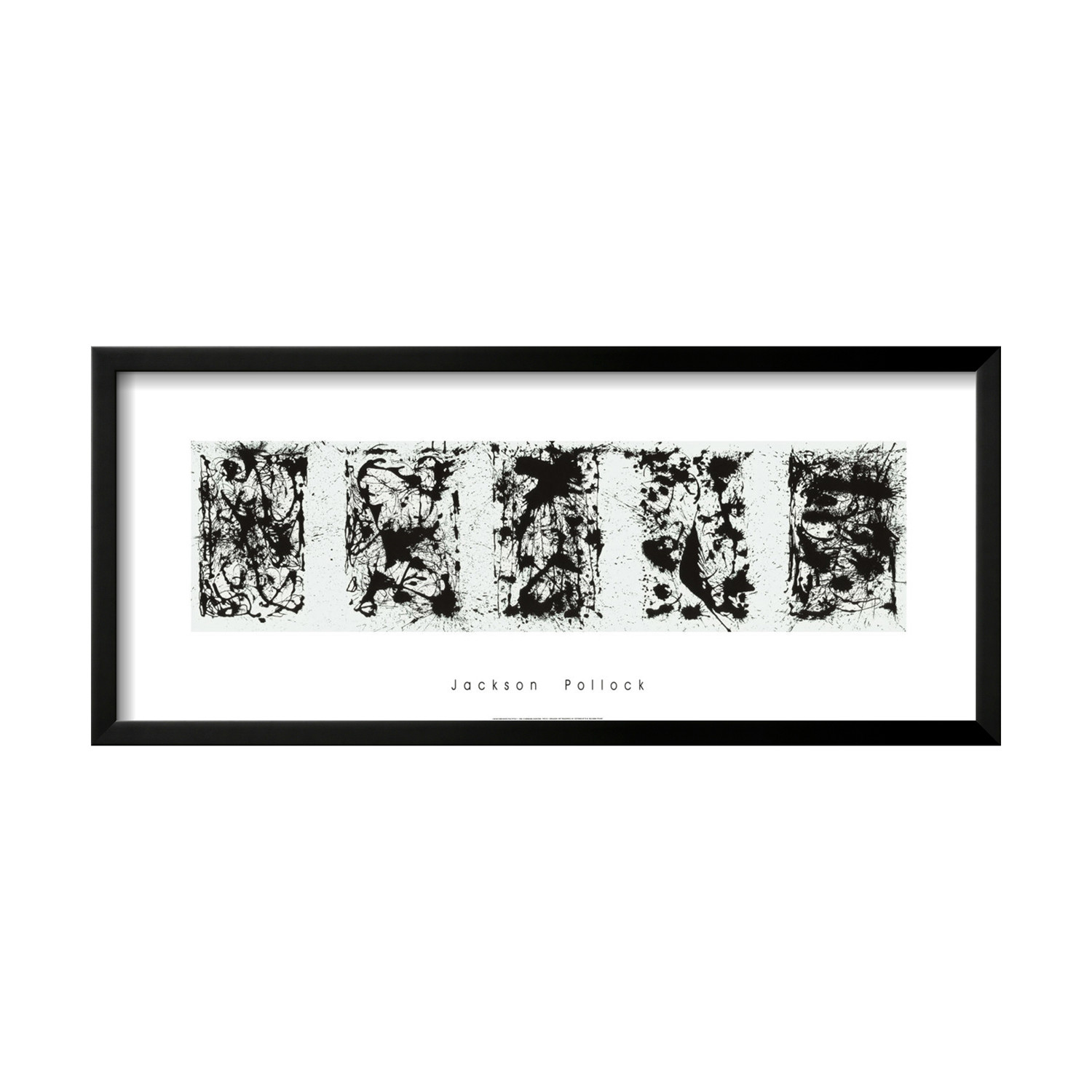 Black and white polyptych jackson pollock touch of modern for Jackson pollock coloring page