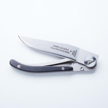 Laguiole Liner Lock Pocket Knife // Black Horn