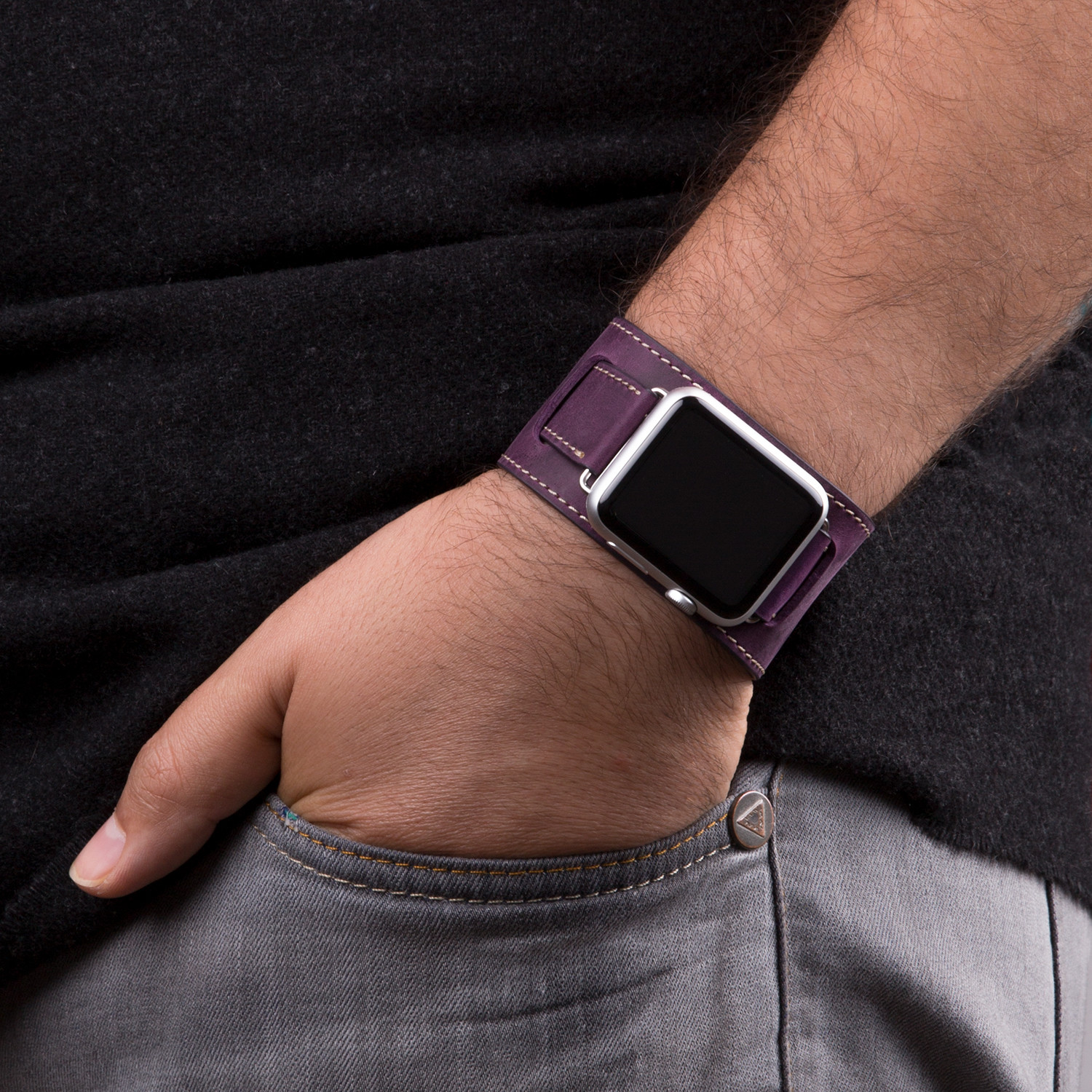 Apple watch strap wide band purple 38mm istanbul leather shop touch of modern for Violet leather strap watch