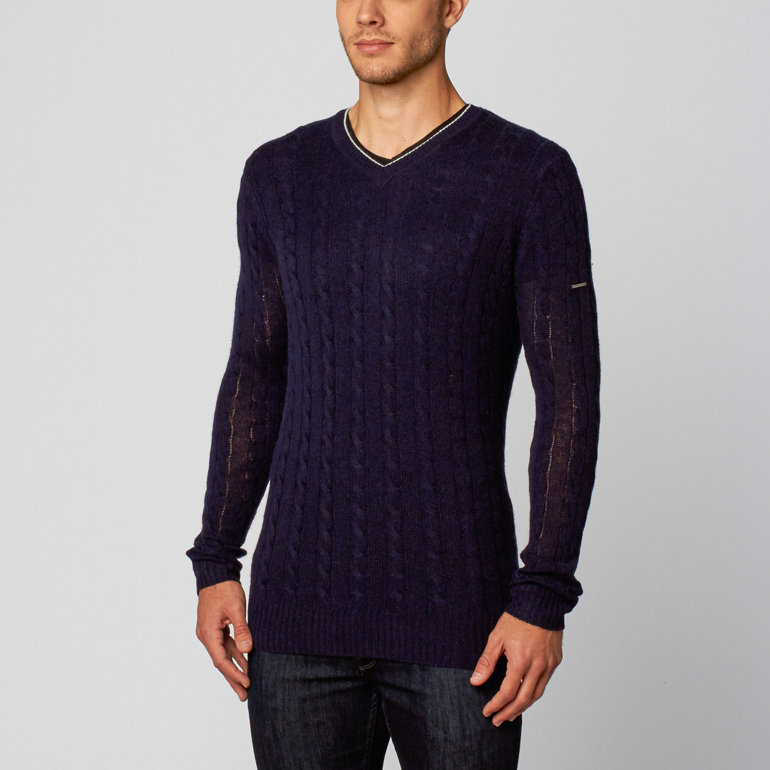 8d7b06d03a036 Angelo Cable V-Neck    Navy (XL) - Silk and Cashmere - Touch of Modern