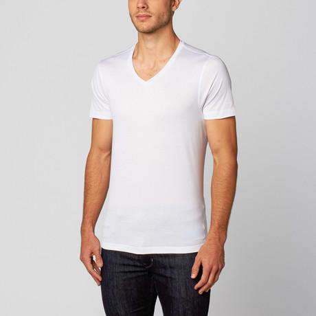 Silk & Cashmere // Jen V-Neck Short-Sleeve Basic T-Shirt // White (S)