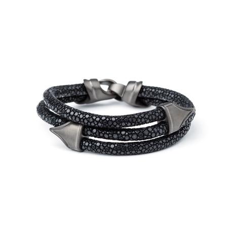 Stingray Matte Gunmetal Bracelet // Black