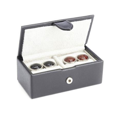 Italian Leather Cufflink Storage Box // 2 Pairs