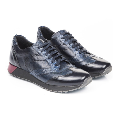 Uomini Italiani // Alek Croc Texture Sneaker // Navy