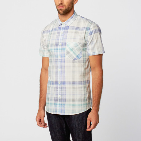 Milano Plaid Short-Sleeve Button-Up // White + Blue