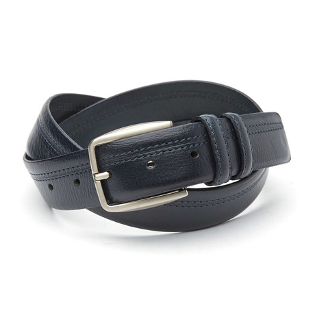 Federico Top Stitch Belt // Blue