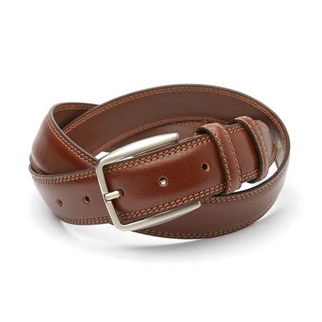 Gian Classic Top Stitch Belt // Cognac
