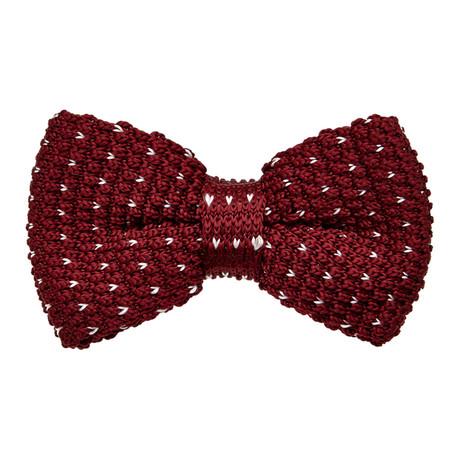 Knit Bow Tie // Burgundy + White