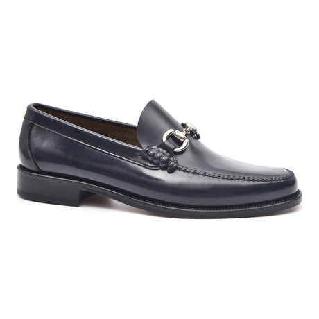Leather Sole Metal Ornament Loafer // Blue (Euro: 37)