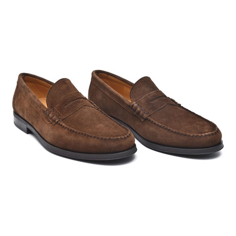 Rubber Sole Suede Banded Loafer // Chestnut