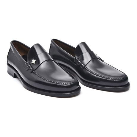 Leather Sole Ornament Loafer // Antic Black