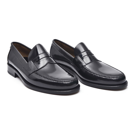 Leather Sole Banded Loafer // Antic Black